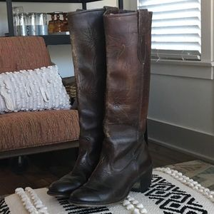 Vintage 70's ACME Embroidered Leather Cowboy Boots